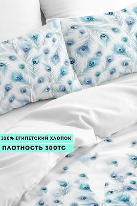 Комплект постельного белья Перья голубого павлина