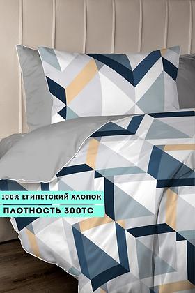 Комплект постельного белья Геометрия синие ромбы