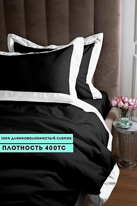 Отельное постельное белье Megan, черное с белой  полосой