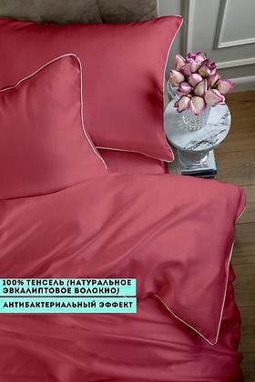 Однотонное постельное белье из тенселя, цвет красный