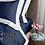 Thumbnail: Отельное постельное белье Megan, синее с белой полосой
