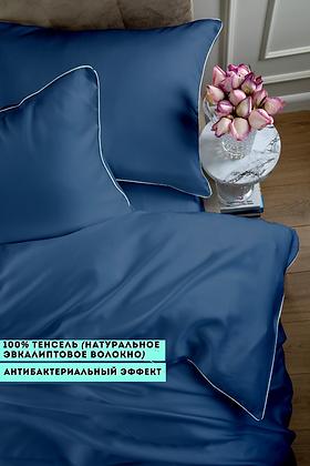 Однотонное постельное белье из тенселя, цвет индиго