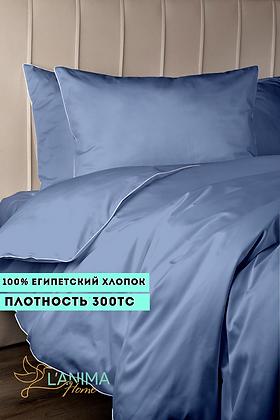 Комплект постельного белья Темный Голубой Премиум Сатин