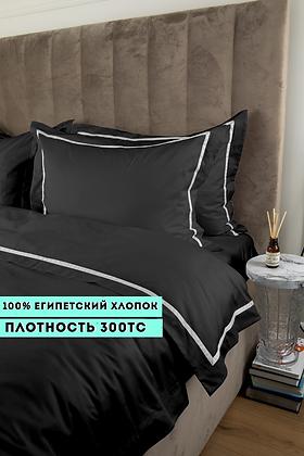 Отельное постельное белье Simple, черное с белой полосой