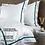 Thumbnail: Отельное постельное белье Simple, цвет белый с зеленой полосой