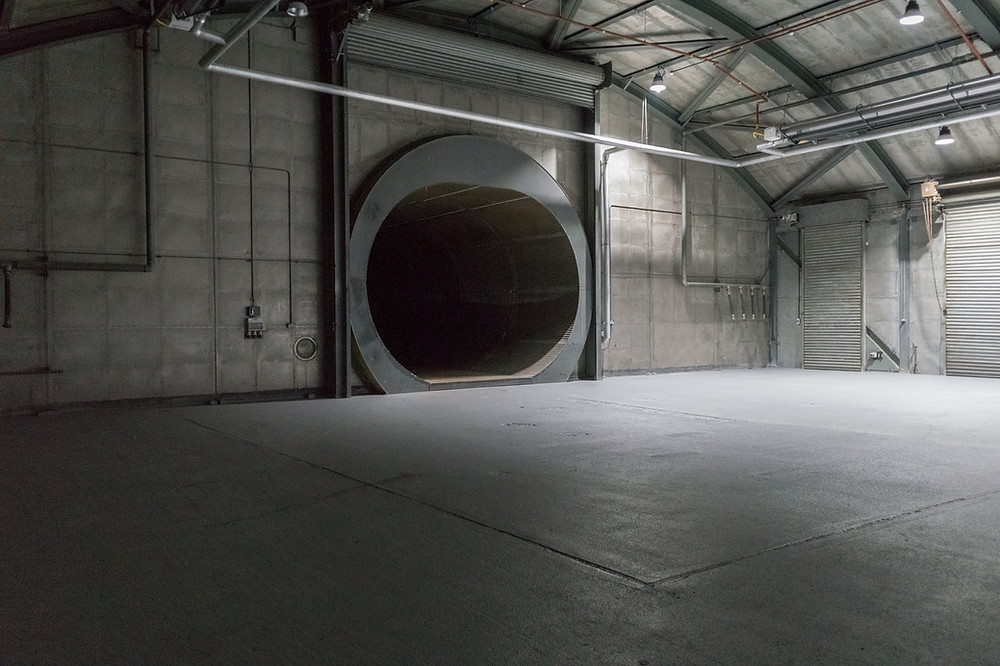 Laurence Davis shot of jet engine testing facility in Suffolk, UK