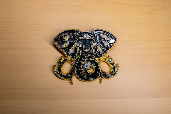 Horror Tusk Black and Gold Pin