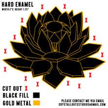 Crystal Lotus Black and Gold Pin