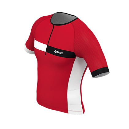 Male Tri Top Short Sleeve HIPS Red