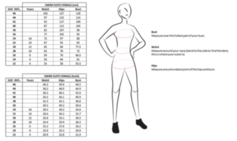 Swimwear woman - swimsuit size guide