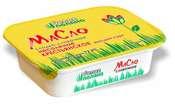 Масло сладко-сливочное Крестьянское в/с – м.д.ж. 72,5%