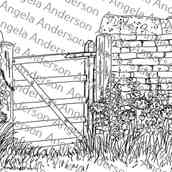 Stone Fence with Wildflowers Traceable
