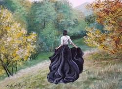 Woman in Gown Autumn Facebook Challenge.