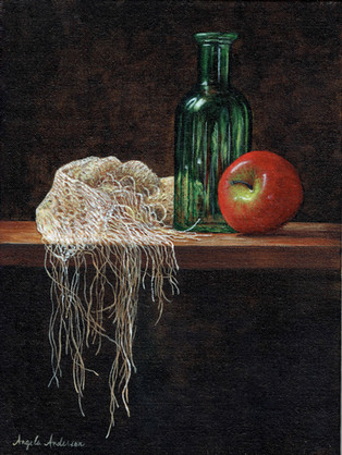 Green Glass and Apple Still Life