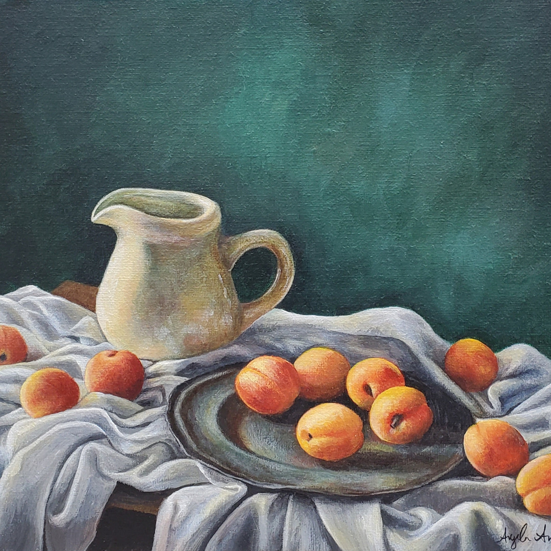 Still Life Pitcher & Peaches (Apricots)