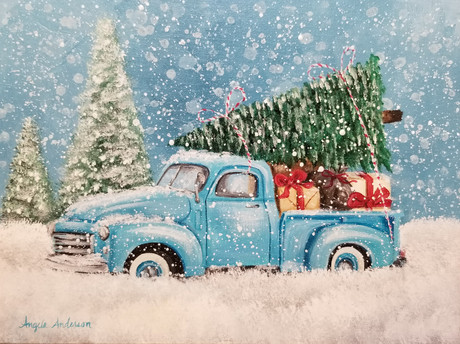 Blue Christmas Truck