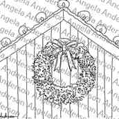 Lighted Christmas Barn with Wreath Traceable