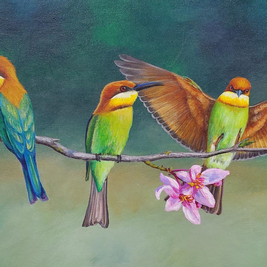 Birds on Flowering Branch
