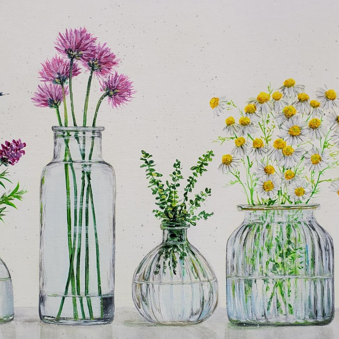 Herbs & Wildflowers in Glass Jars