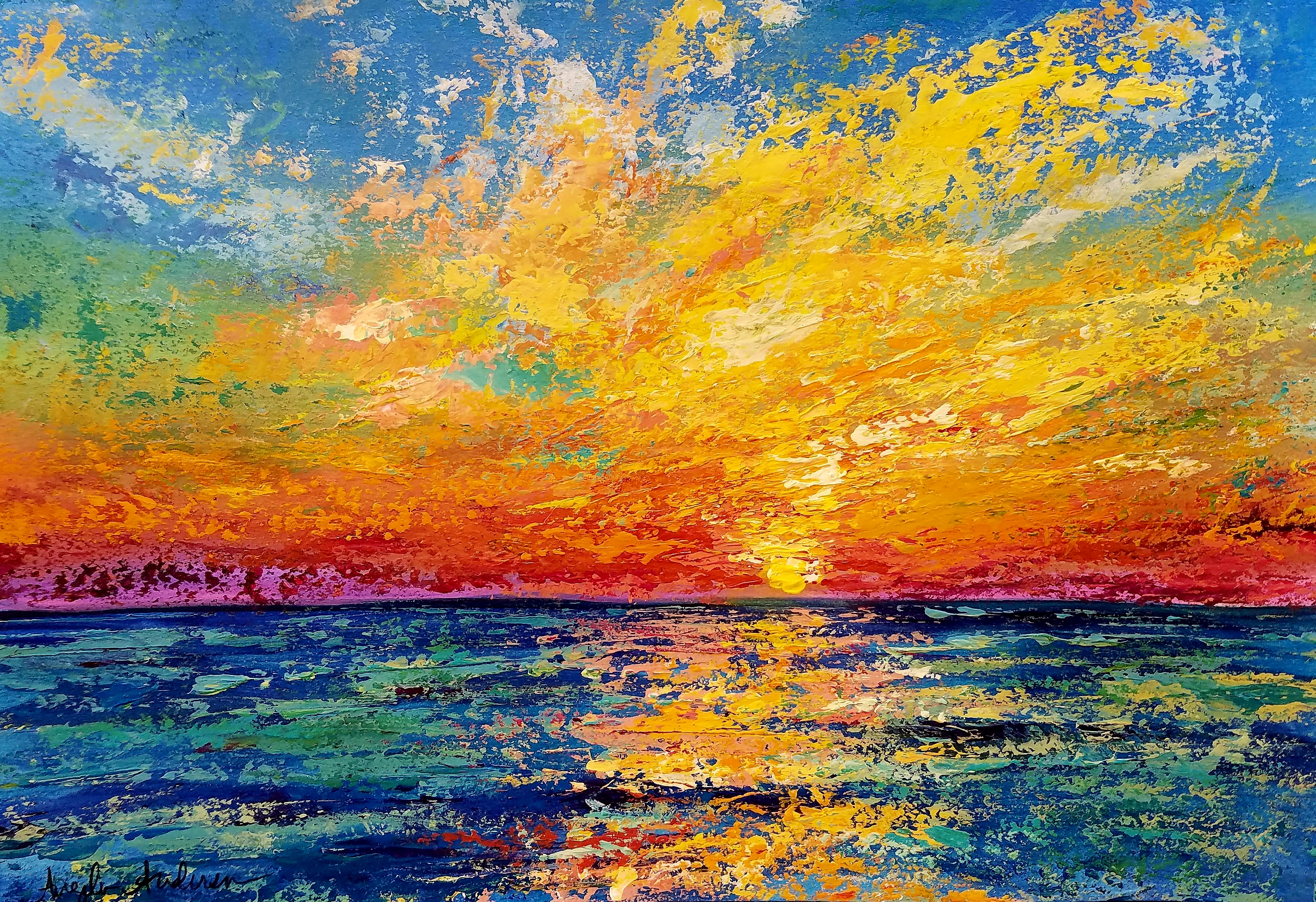 Sunset Ocean Palette Knife