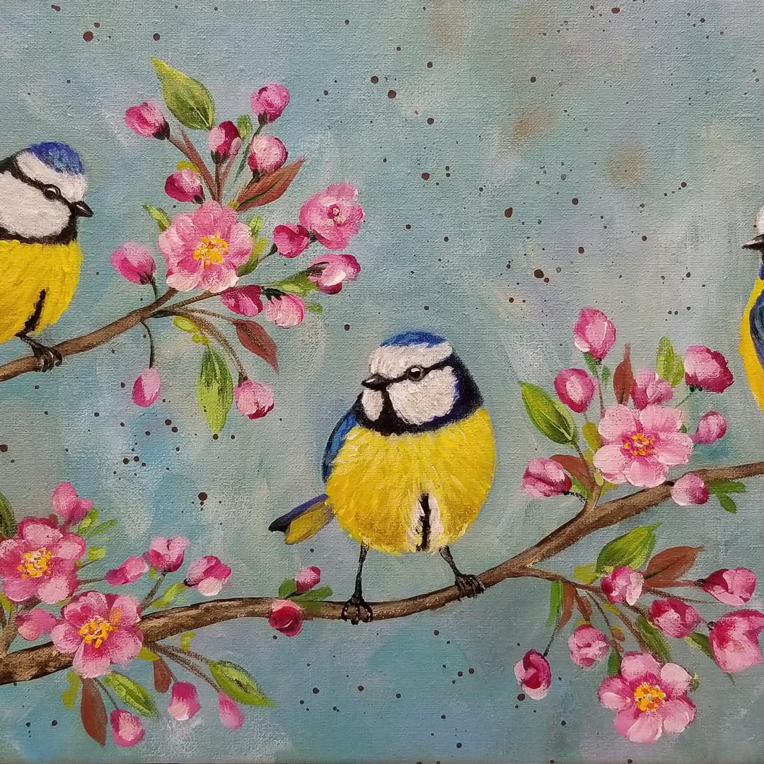 Birds on Cherry Blossoms