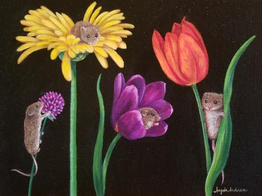 Mice on Flowers