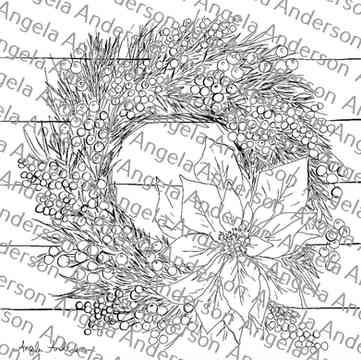 Poinsettia Wreath Traceable