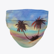 Sunset Palm Trees Beach Face Mask