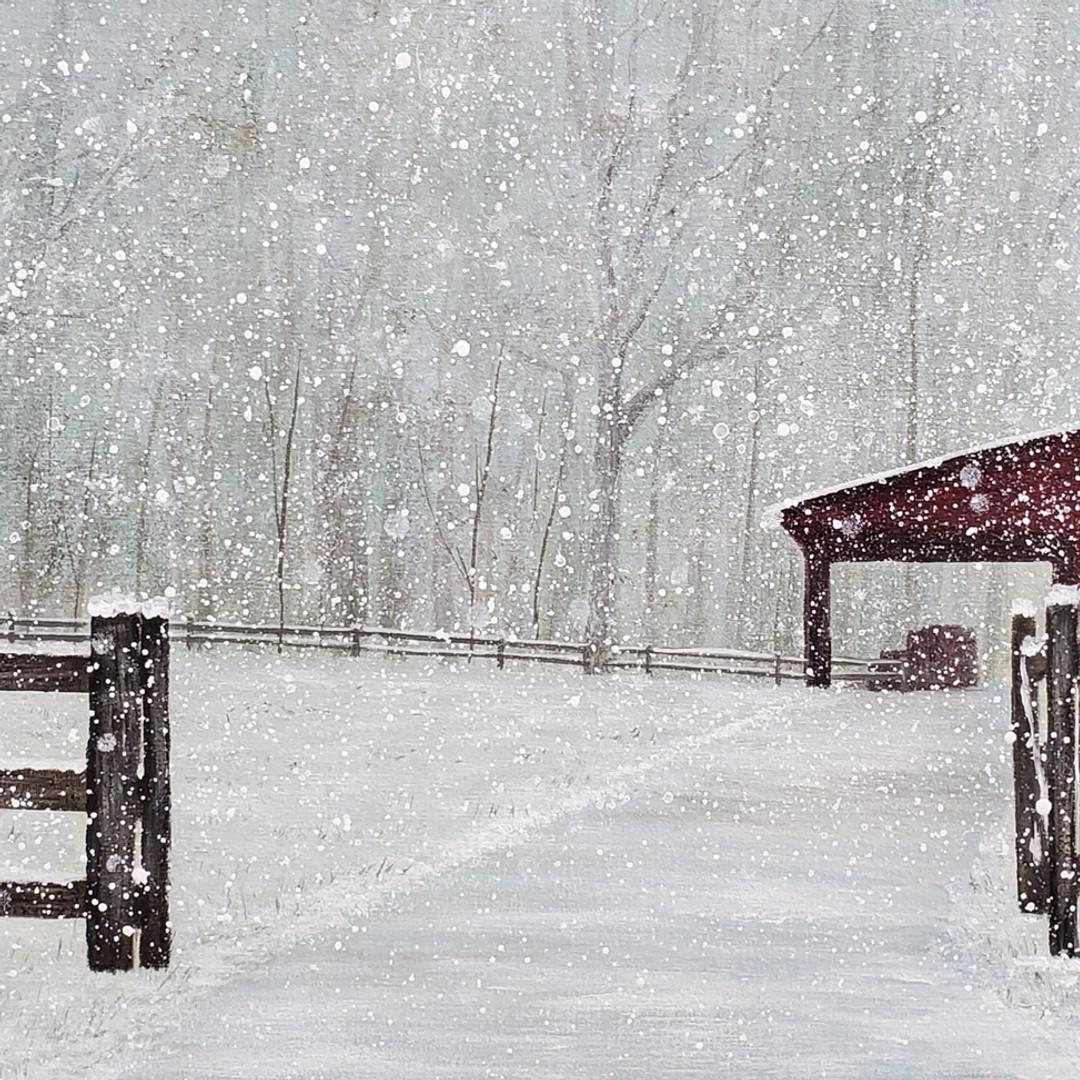 Christmas Barn Winter Landscape