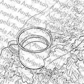 Autumn Coffee Cup with Leaves Traceable