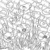 Red Poppies Floral Landscape Traceable
