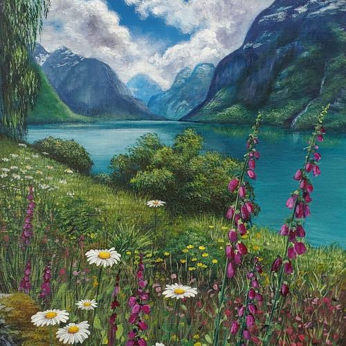 Beautiful Mountain Lakeside Flowers