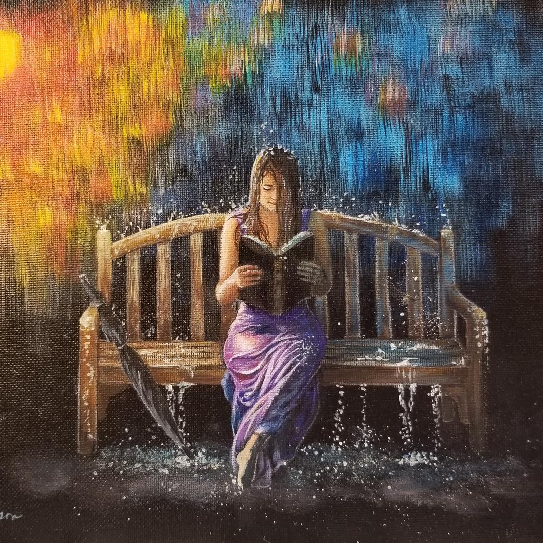 Woman Reading in Rain