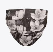Black and White Poppies Face Mask