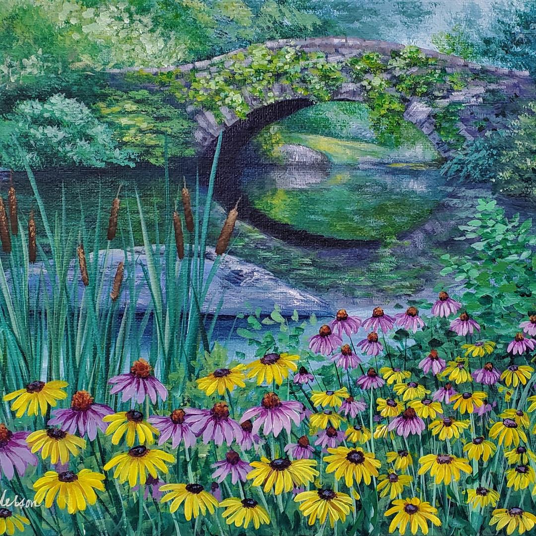 Garden Bridge with Daisies and Cattails