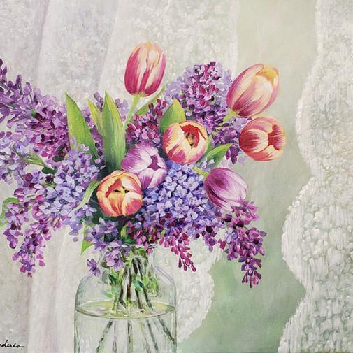 Impressionist Lilacs & Tulips