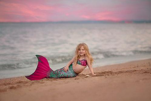 Kids Condy Anemone Mermaid Tail & Bandeau Bikini Top for rent