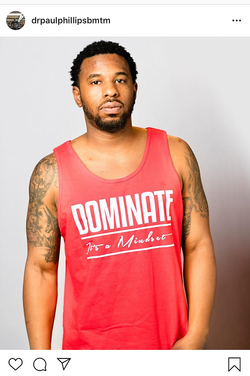 White Dominate It's a Mindset Tank Top