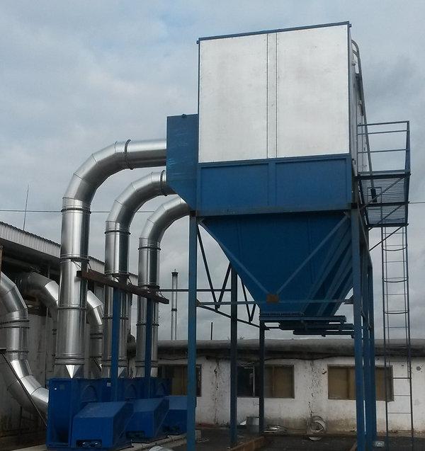 Система аспирации ФМ-30 с вентиляторами.jpg. Промышленные системы аспирации. Фильтровальные рукава, аспирация для деревообработки, бункер для стружки, пылеотсос, воздуховоды для аспирации