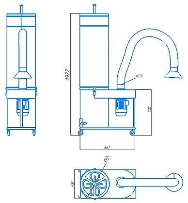Пылеулавитель для абразивной и шлифовальной пыли, вытяжка от заточного станка, аспирация