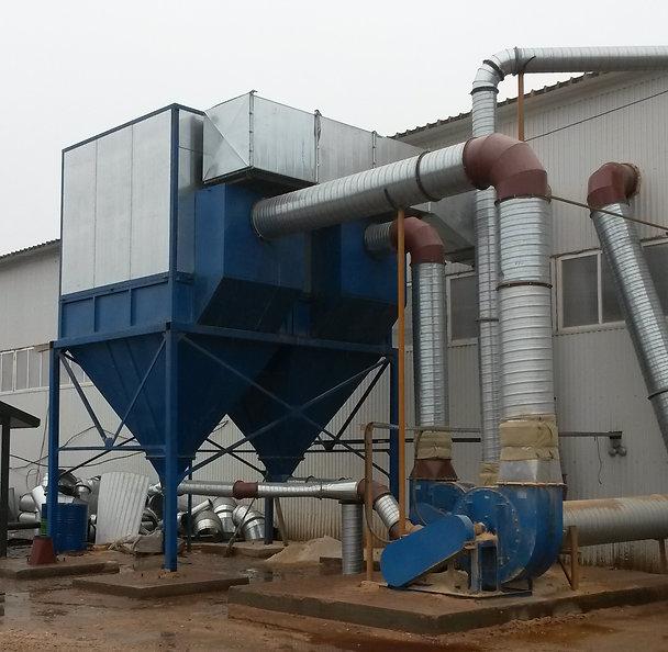 Рукавный фильтр с рекупирацией ФМ-40. Бункер для стружки, рукавный фильтр, шлюзовой питатель ШП-500х500, пылевой вентилятор №8, 45кВт, воздуховоды для аспирации, пневмотранспорт, система аспирации