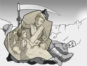 """Ilustración por William Trabacilo basada en la historia de """"Oscura mamá"""" de Juan Manuel Valitutti"""