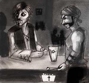 """Ilustración por Bárbara Ros basada en la historia de """"Bares oscuros, auténticos antros"""" de Álvaro Valderas"""