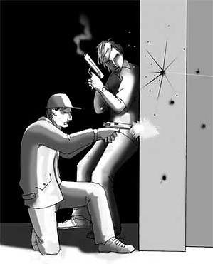 """Ilustración por Juan Rafflo basada en la historia de """"El colectivo"""" de Marcelo Nasra"""
