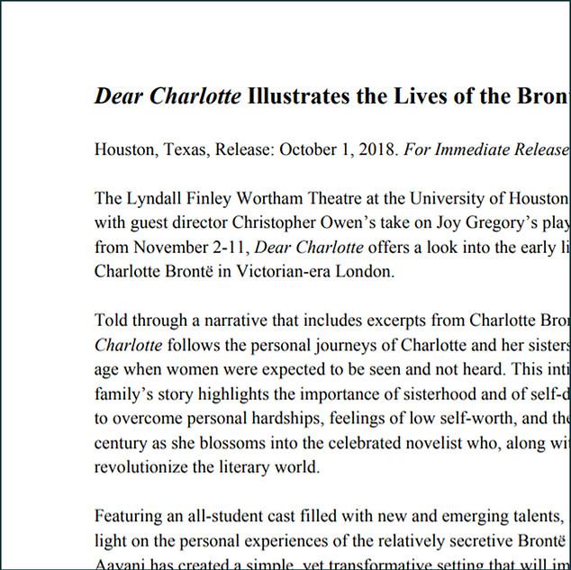 'DEAR CHARLOTTE' PRESS RELEASE