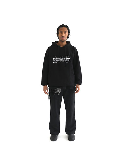 GRAPHIC EMBROIDERY HOODIE / JET BLACK