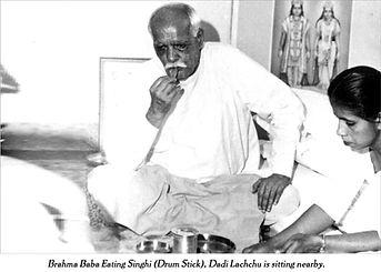 Brahma Baba eating Bhojan