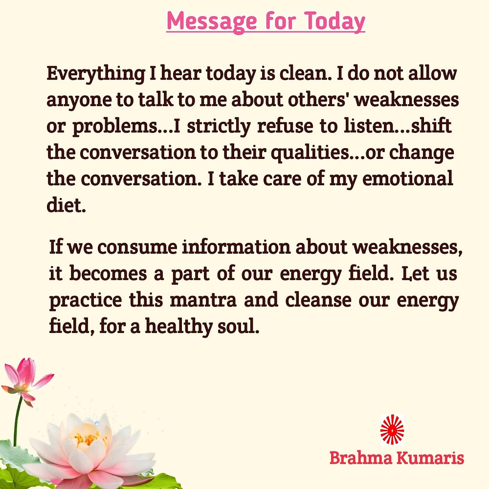 Message for today - Brahma Kumaris