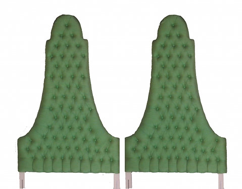Pair of Green Silk Tufted Twin Highback Headboards