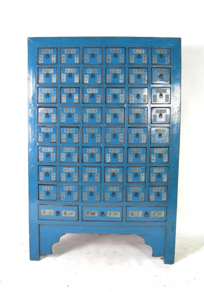 Rare Electric Blue Antique Chinese Cabinet